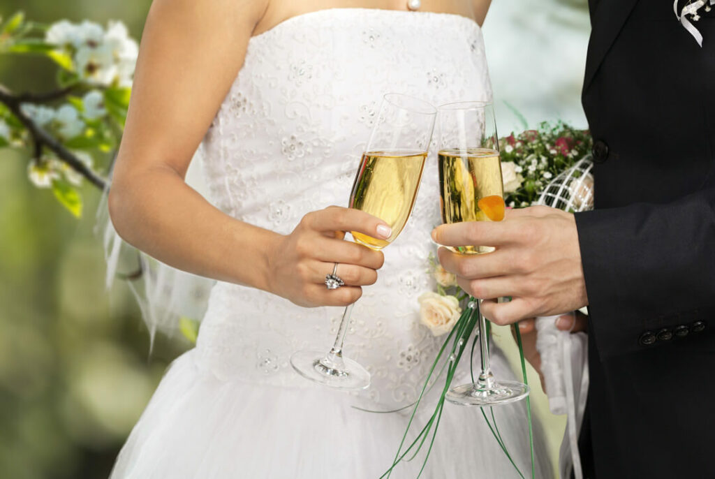 Champagne toast celebrating Mount Peak Farm Wedding Venue Pricing