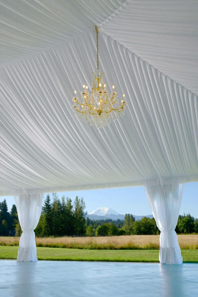 Reception tent with a Mount Rainier view