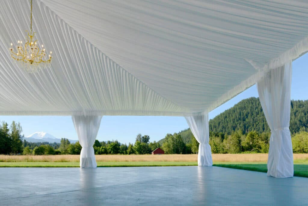 Reception tent with Mount Rainier views