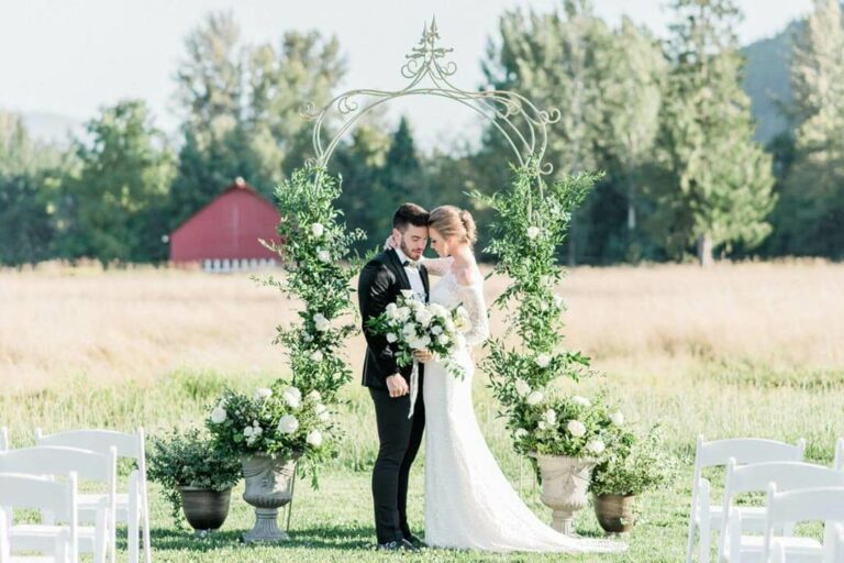 Bride and groom ceremony at Mount Peak Farm