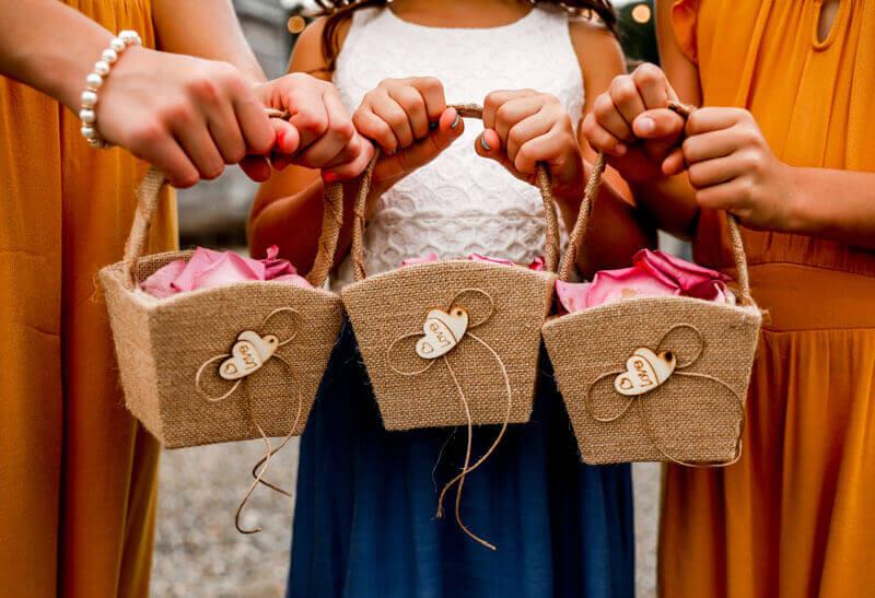 Wedding flower baskets at sunflower wedding