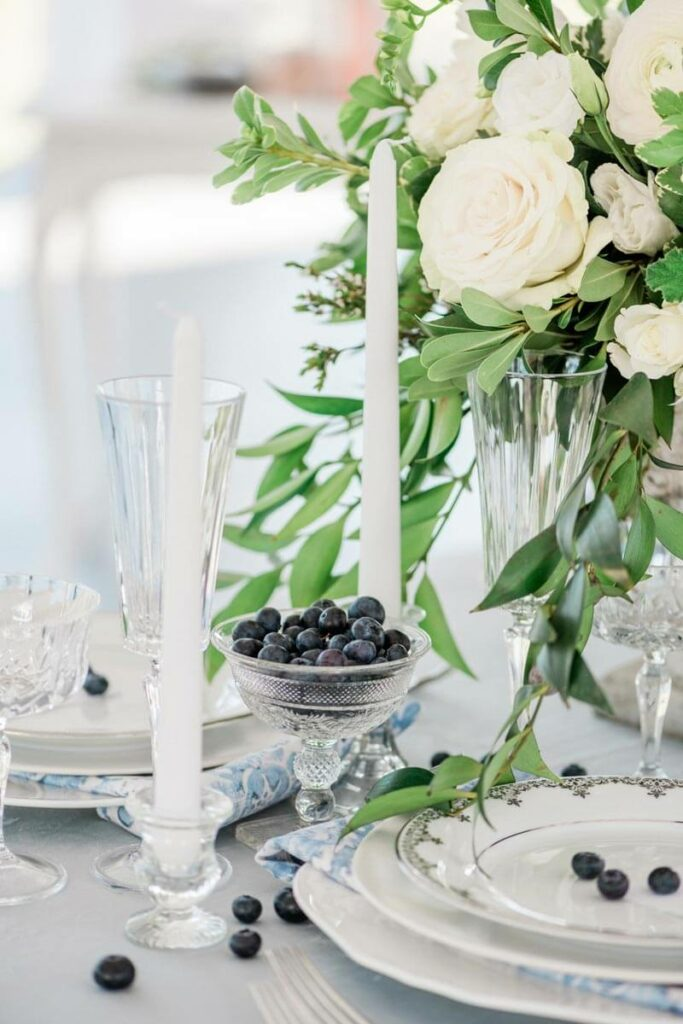 French Countryside Wedding Inspiration reception table top