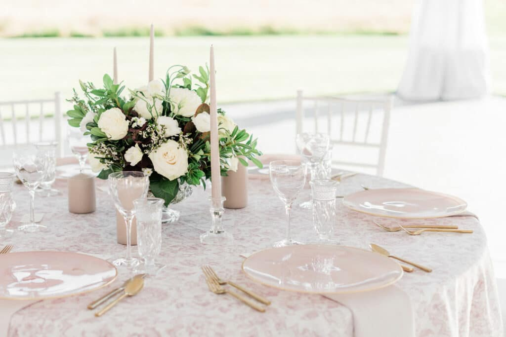 Blush Table setting in reception tent