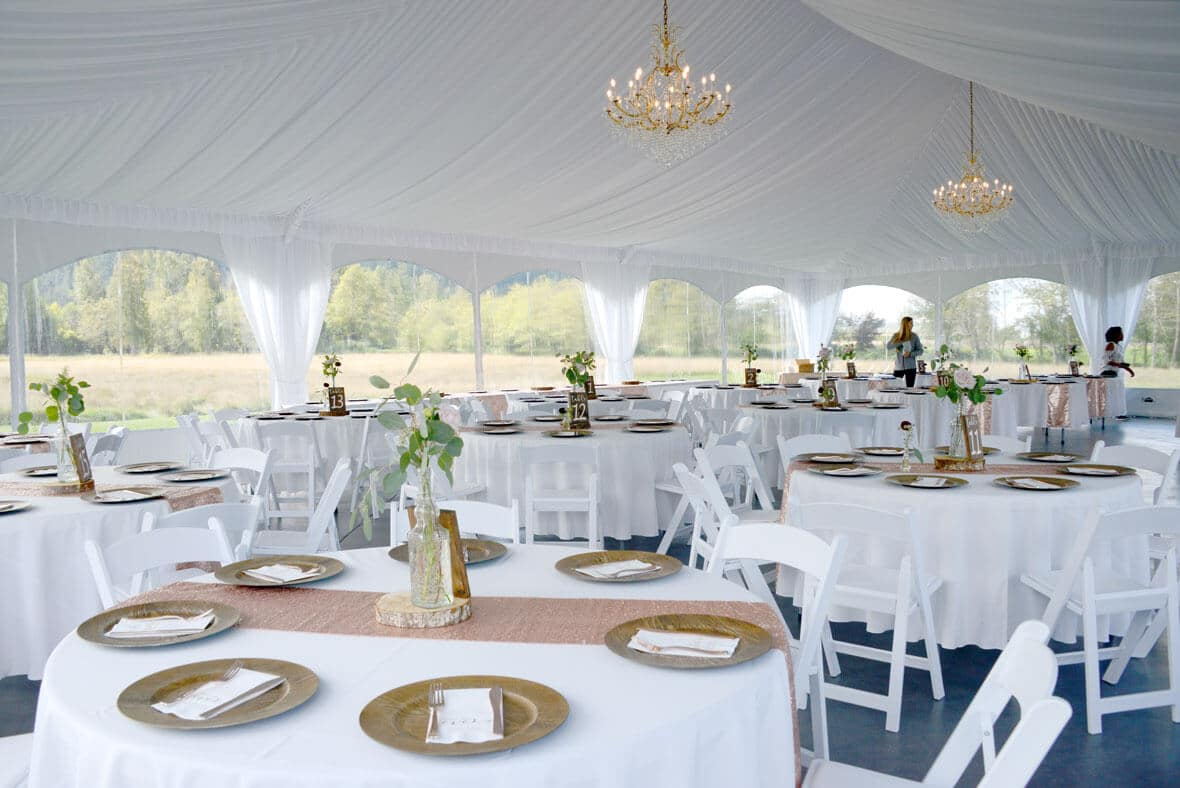 Reception tent at Mount Peak Farm