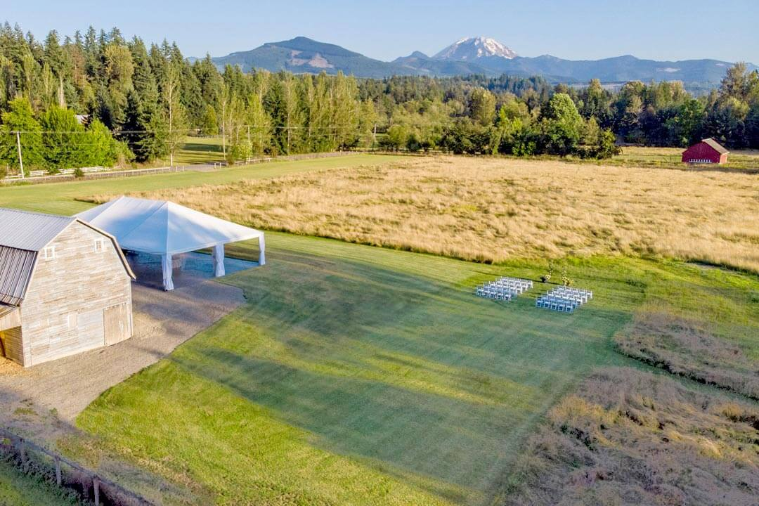 Drone view of Mount Peak Farm ceremony area