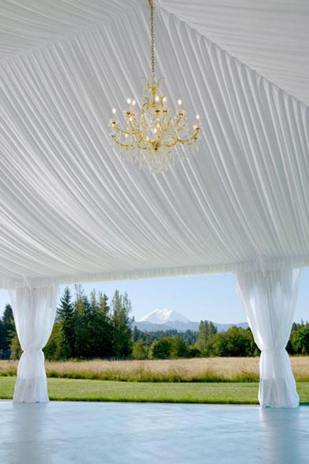 Reception tent with Mount Rainier view at Mount