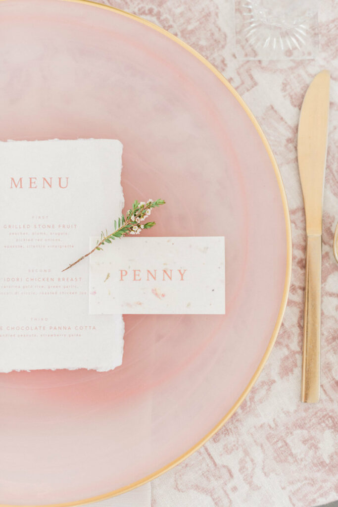 Romantic blush wedding place setting