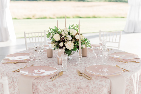Romantic blush wedding table setting