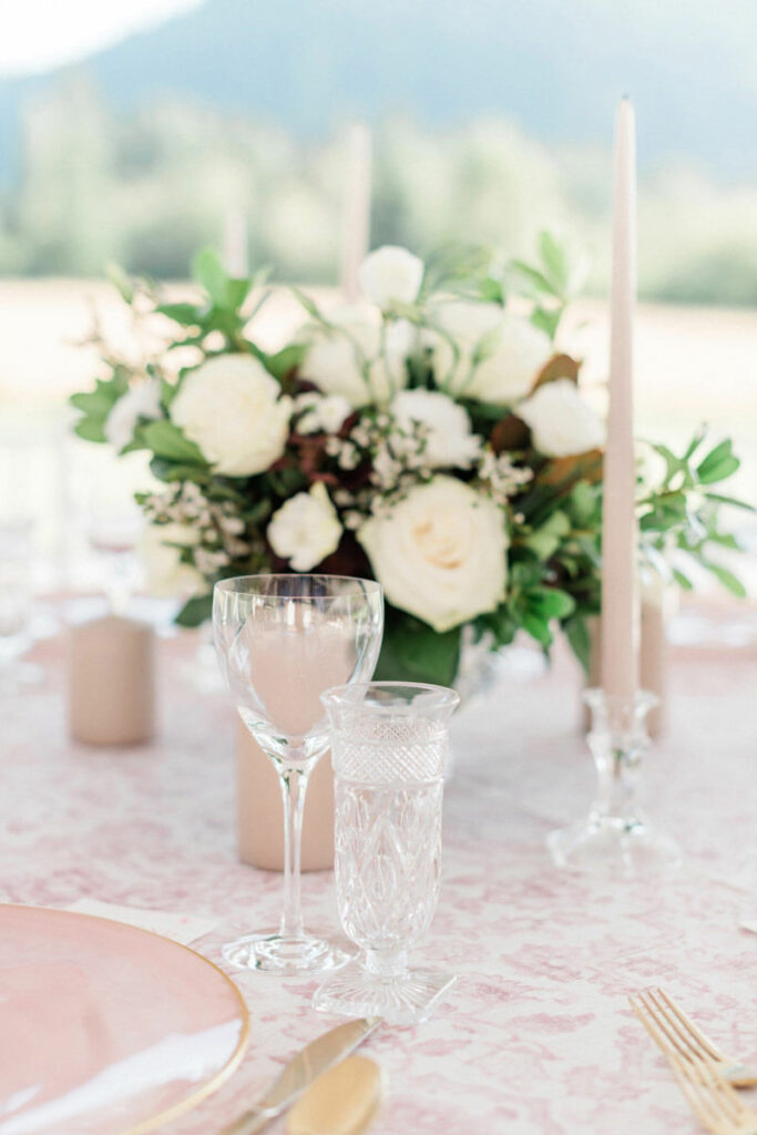 Romantic blush wedding table flowers