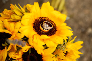 Wedding rings on Sunflower bouquet