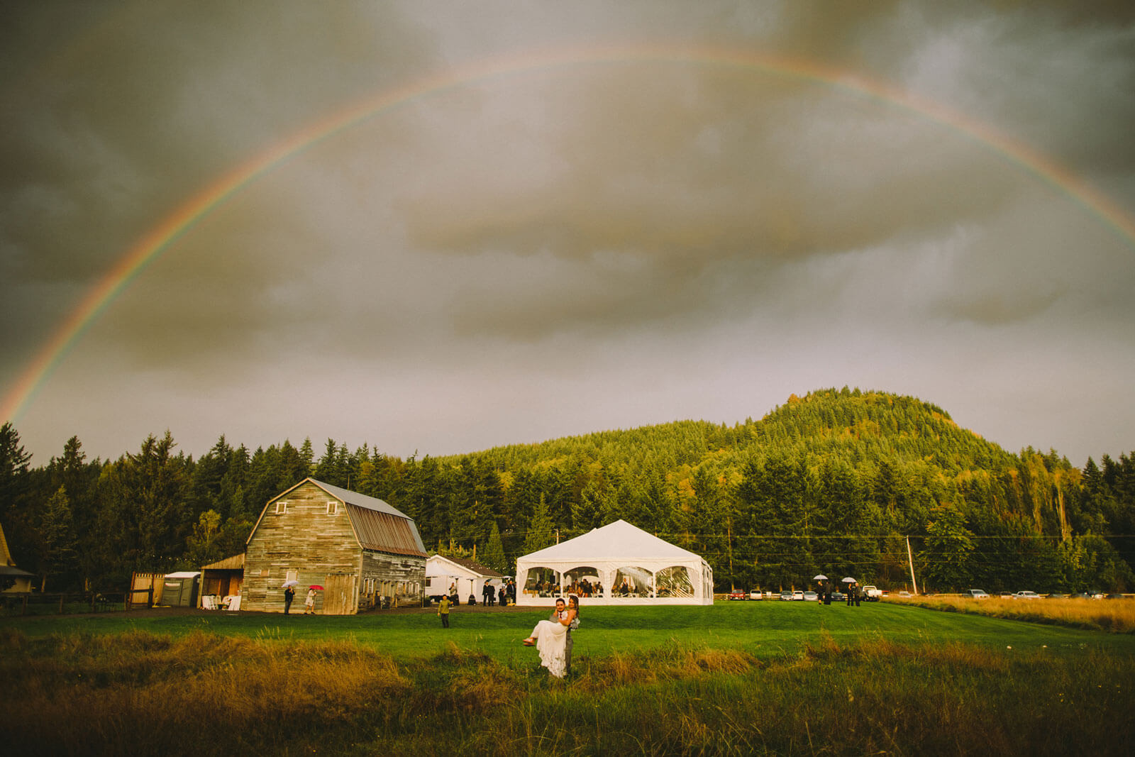 Rainbow over Mount Peak Farm Wedding Venue