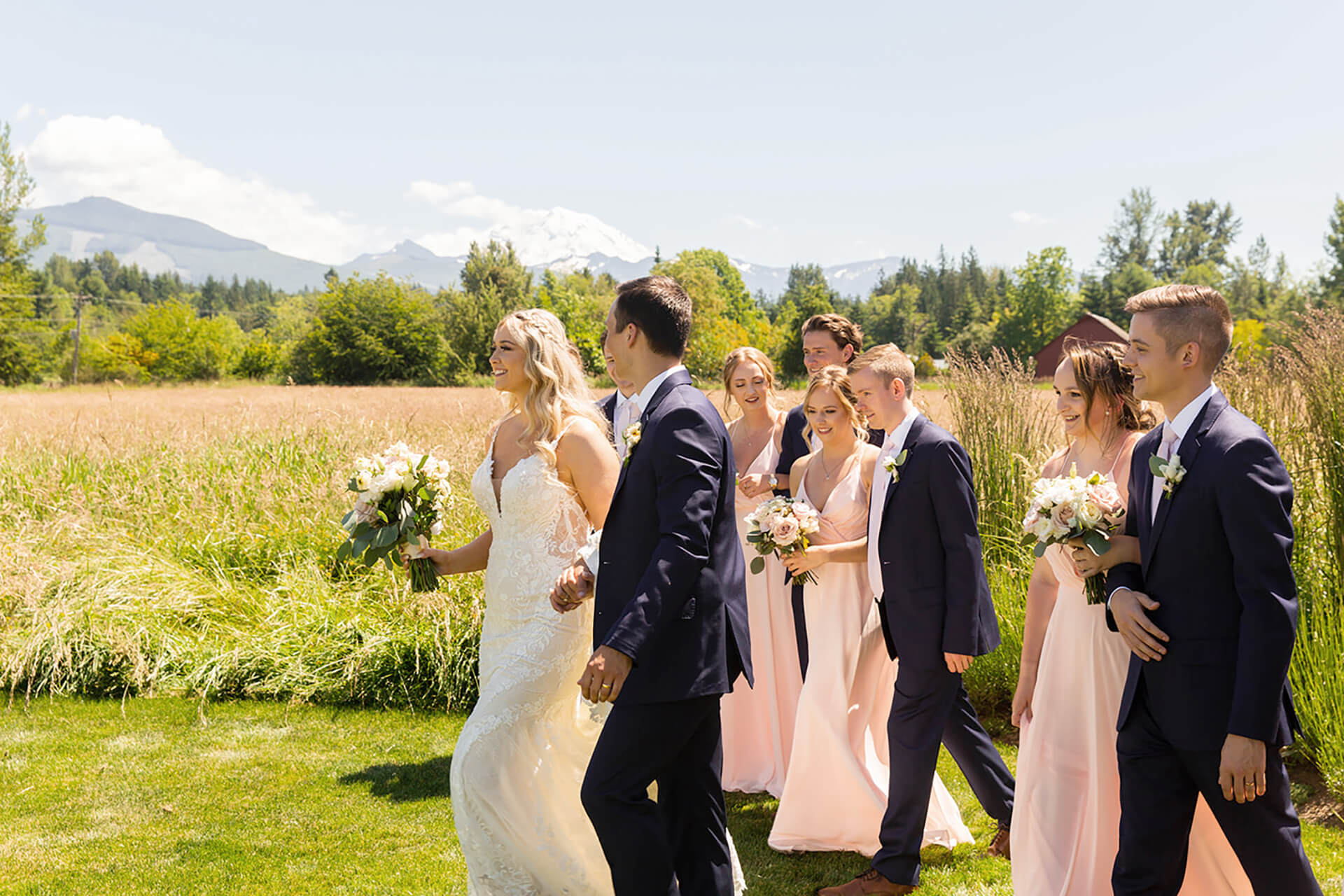 Wedding Party in field at Mount Peak Farm