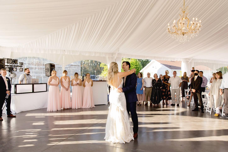 Bride and Groom dancing in reception tent at Mount Peak Farm