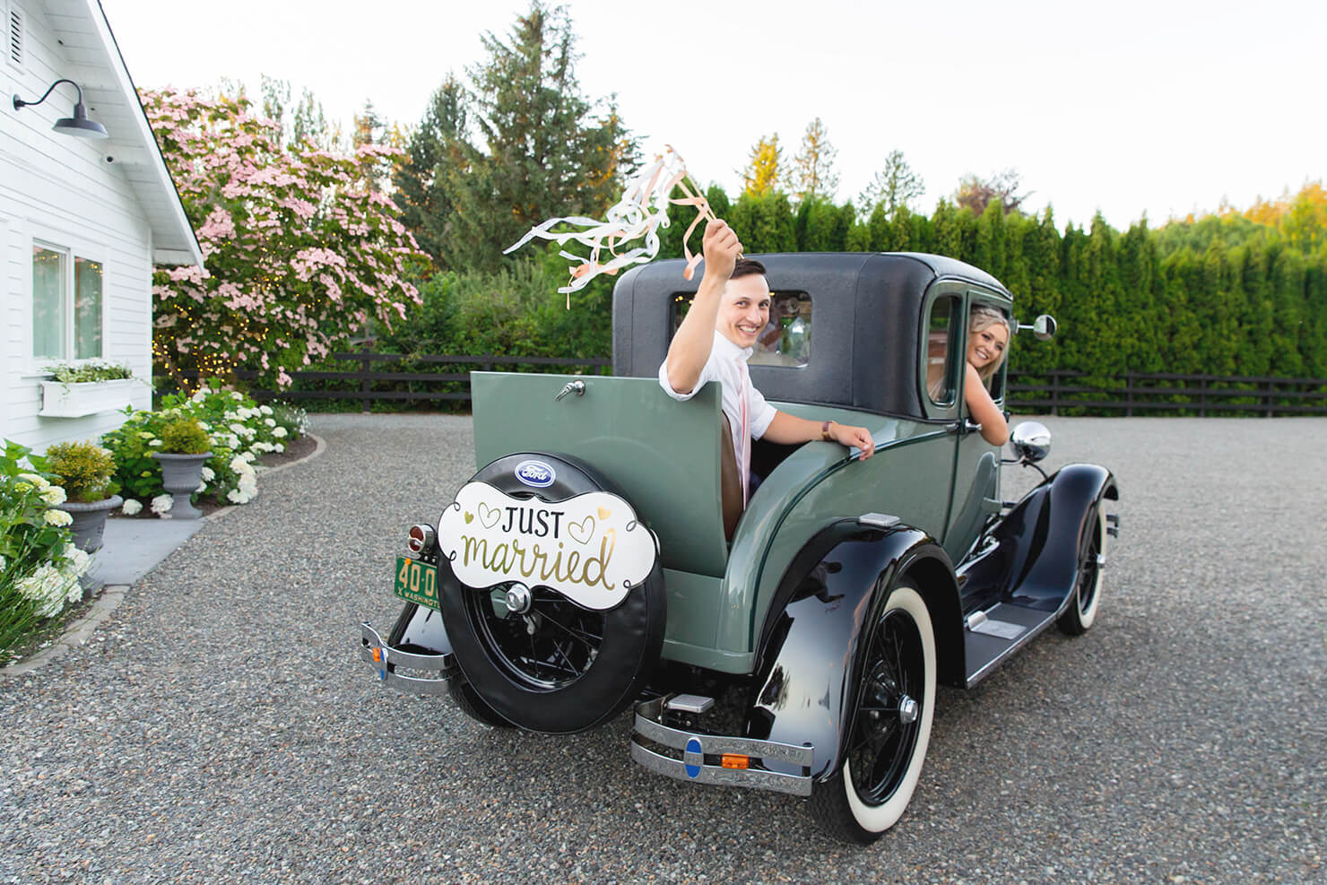 Just Married car with bride and groom at Mount Peak Farm