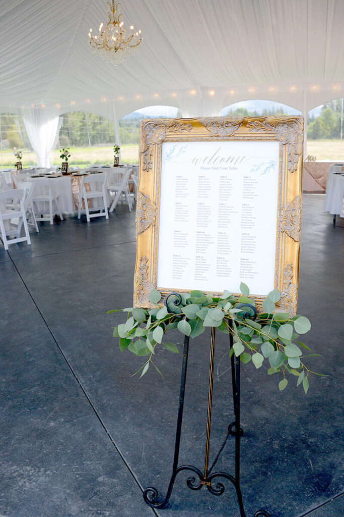 Seating chart in reception tent at Mount Peak Farm