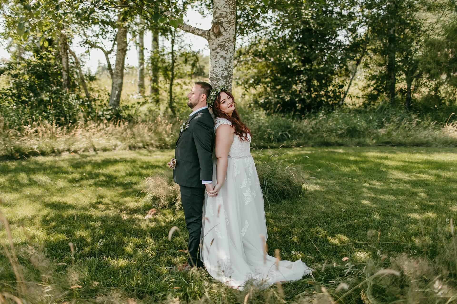 Bride and groom first look at Mount Peak Farm